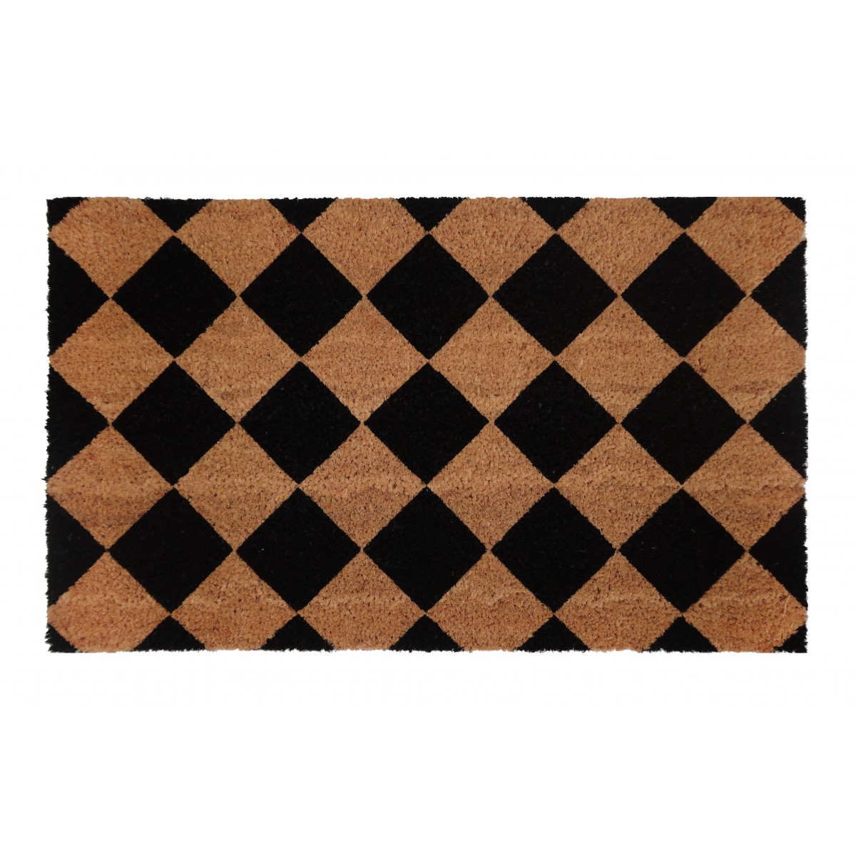 PVC Backed Coir Door Mat Black Diamond