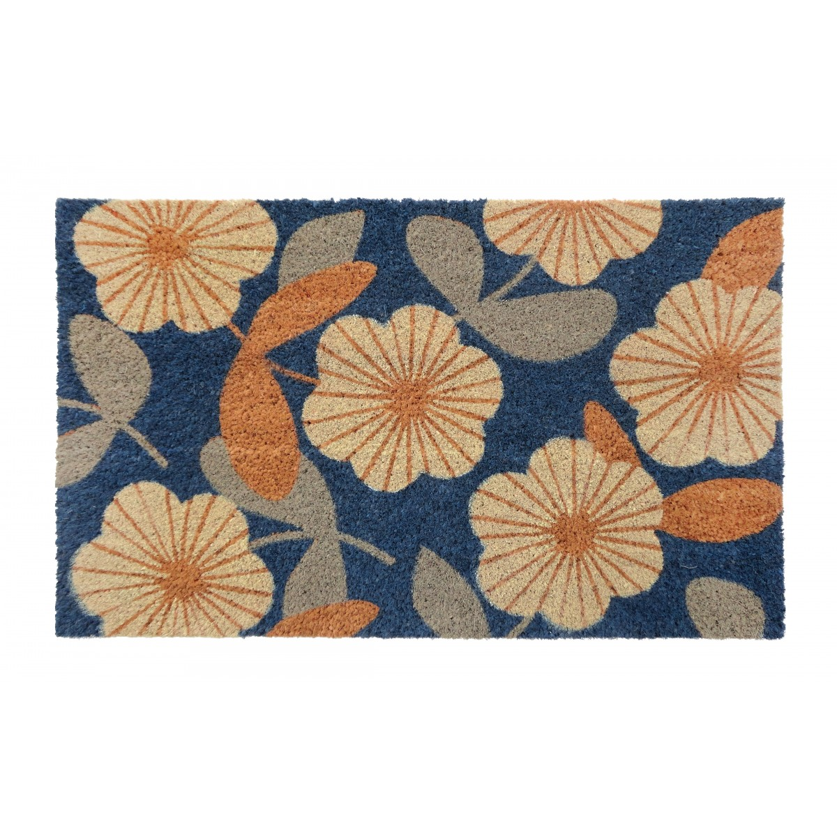 PVC Backed Coir Door Mat Floral