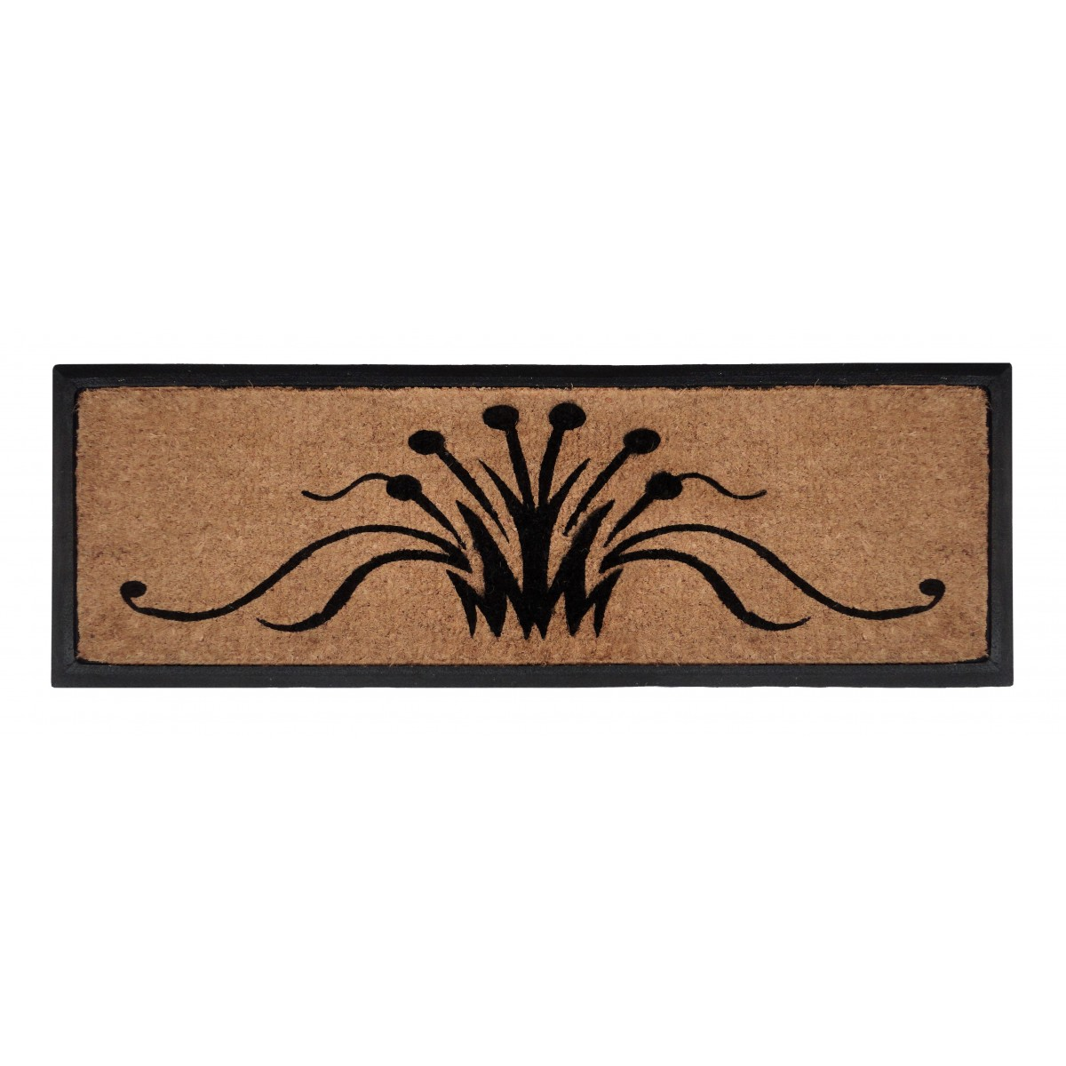 Rubber Bordered Coir Door Mat - Swirls